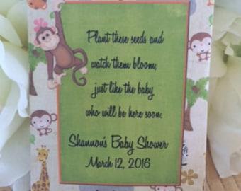 35 Jungle Baby shower Favors,  giraffe baby shower favors, Jungle Baby Shower Favors , monkey baby shower Seed Packet Favors, monkey favors