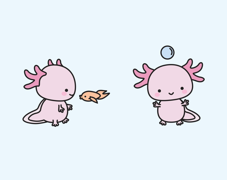 Premium Vector Clipart Kawaii Axolotls Cute Axolotl