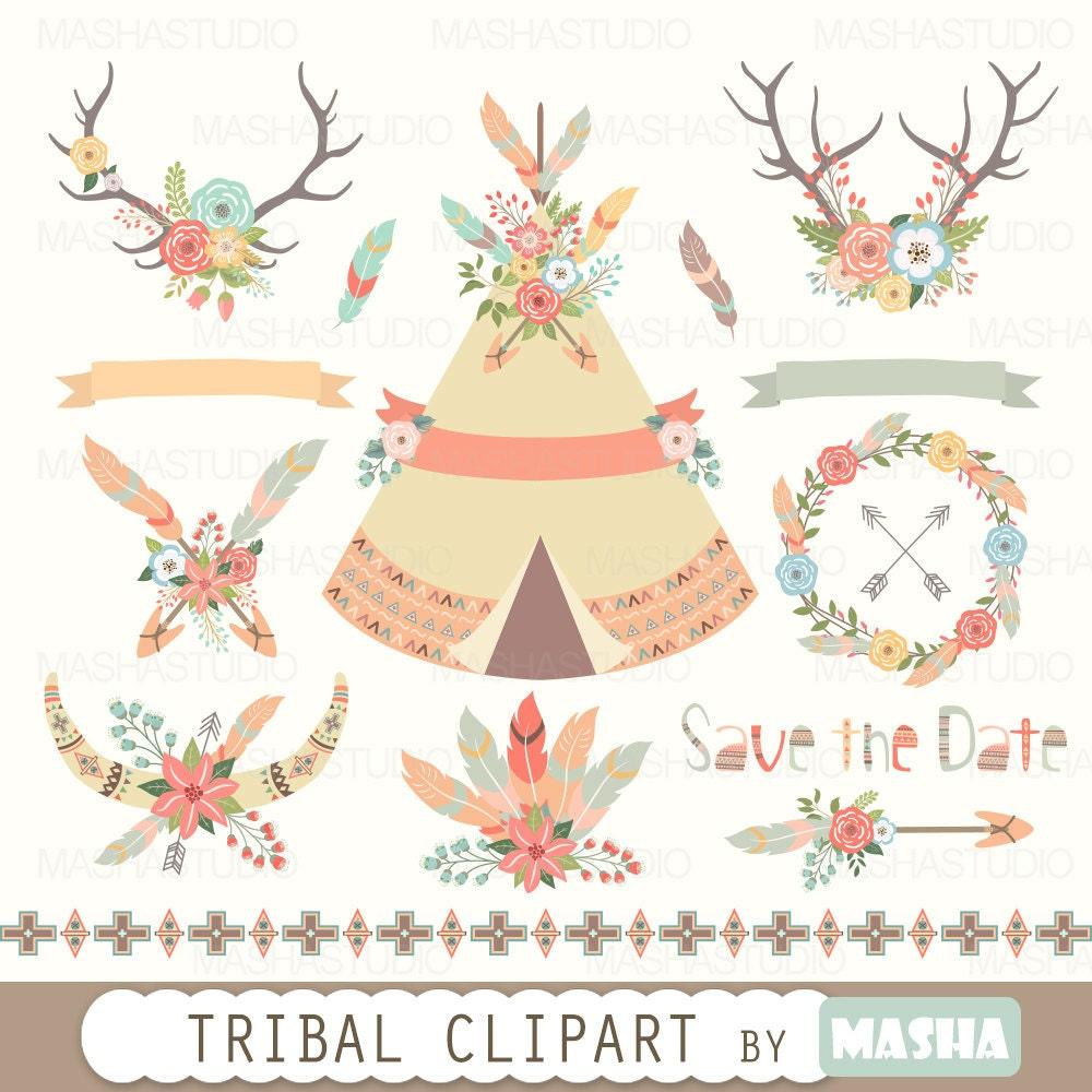 Floral Tribal Clipart Tribal Clipart Tribal Tent