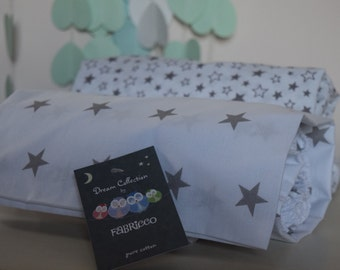2 x Cot-Bed-Fitted-Sheet-100-COTTON- Cot Bed Fitted Sheet 100% COTTON Grey  Stars Bedding