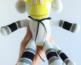 Sock Monkey-Mini-Handmade-White, Yellow, Grey, and Black-Monkey-Plush-Pocket Size-Handheld
