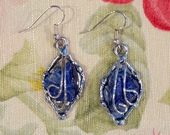 Lapis Lazuli Silver earrings, Blue Crystal Earrings, Drop Earrings, French Hooks