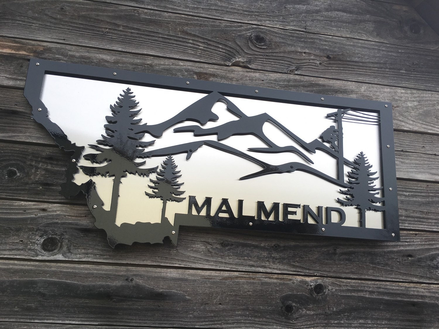 montana themed metal wall art by oregontorchcraft on etsy
