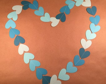 Heart garland, Valentine's Day garland, wedding garland, blue ombre garland,