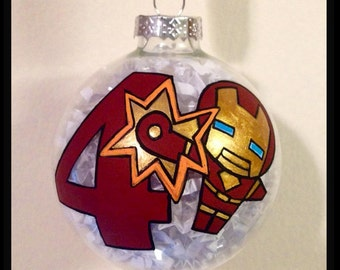 Ironman Christmas Ornament, Birthday Ornaments,  Hand Painted Glass Ball Ornaments, Holiday Decor, Kids Gifts, Avengers Collectables Gifts
