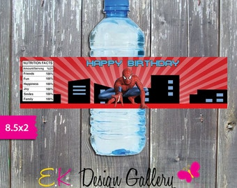Spiderman Water Bottle Label, Party Printable Water Bottle Label, Bottle Wrapper, Digital Instant Dowanload Label