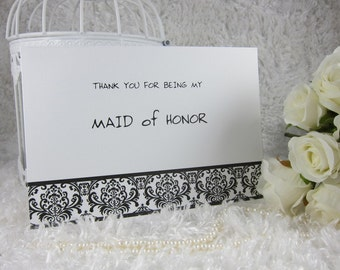 Bridesmaid Thank you card, Maid Of Honor, Flower Girl, Matron of Honor lace Thank you card