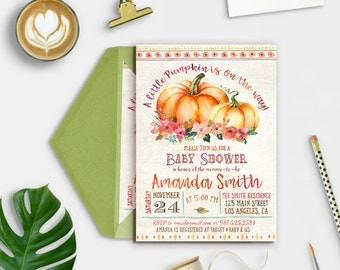 Fall Baby Shower Invitations, Pumpkin Baby Shower Invites, Autumn Baby Shower Invitation, A Little Pumpkin is on The Way, Printable