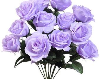 "New Silk Lavender Rose Bush, 12 Lavender Roses 3.5"" in diameter,  Fake  Lavender Roses"