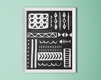Tribal print, Native American wall art, tribal design, black and white art, neutral tribal print, tribal art print, dorm art, office print