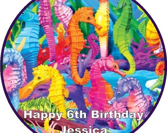 "Sea Horses Personalised 7.5"" Icing /Rice Paper Cake Topper"