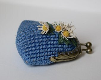 Blue crochet coin purse with bouquet of chamomiles, crochet art, unique gift