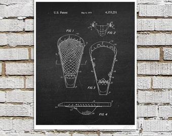 Lacrosse  Patent Art Print #2 Black and White Chalkboard Art Print, Lacrosse Sport Poster, Lacrosse Decor, Lacrosse Coach Gift Idea