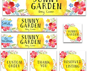 Premade Etsy shop banner set new size cover photo modern watercolor flowers garden bright colors