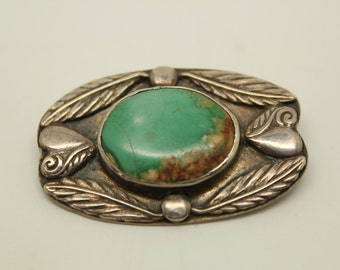 Vintage Sterling Silver & Turquoise Native American Brooch circa 1950s