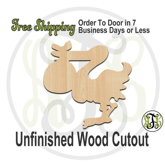 Stork - 230025- Cutout, unfinished, wood cutout, wood craft, laser cut shape, wood cut out, Door Hanger, wooden, wreath accent