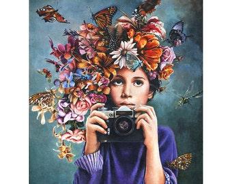 Print, Flower Crown, Vintage Camera, Shutterbug