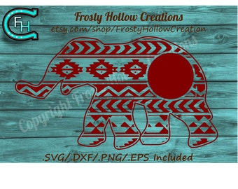 Aztec Elephant Monogram Frame cutting file SVG instant download PERSONAL USE only!