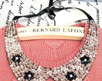 Vintage clothing  Pearl Beaded Lace Collar Necklace  #16