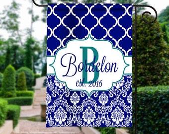 Personalized Garden Flag, Monogram Garden Flag, Garden Flag, Monogram Flag, Garden Decor, House Flag, Damask Garden Flag, Housewarming Gift