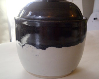 Black and white handmade wheel thrown jar/small canister/stoneware