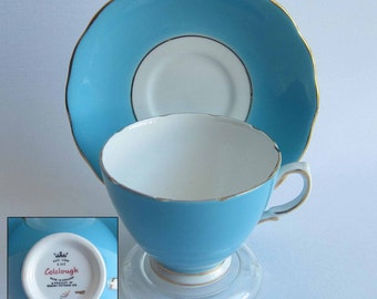 Free Shipping Colclough by Ridgway Potteries 2534 Turquois Bone China Tea Cup and Saucer - Made in England