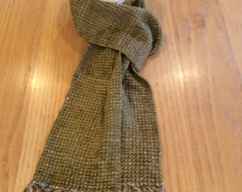 Handwoven sage green chenille scarf