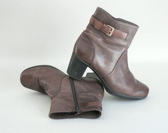 Women's Brown Leather Ankle Boots Size 8