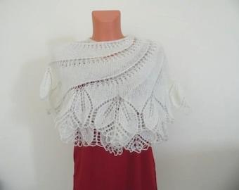Knitted Bridal Shawl, Knit Shawl, Scarf FREE SHIPPING