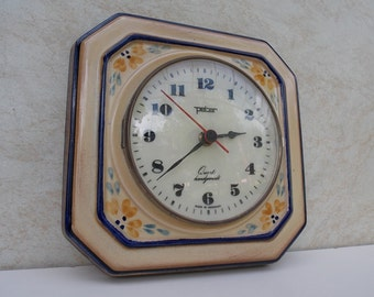 Ceramic wall clock, vintage wall clock, crem clock,Flowers, germany clock, working clock, Peter Wall clock, Made in germany, Kitchen decor