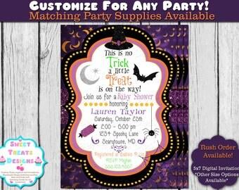 Halloween Baby Shower Invitation, Glitter Halloween Baby Shower Invite, Baby Shower Halloween Invitation, Halloween Witch Baby Shower Invite