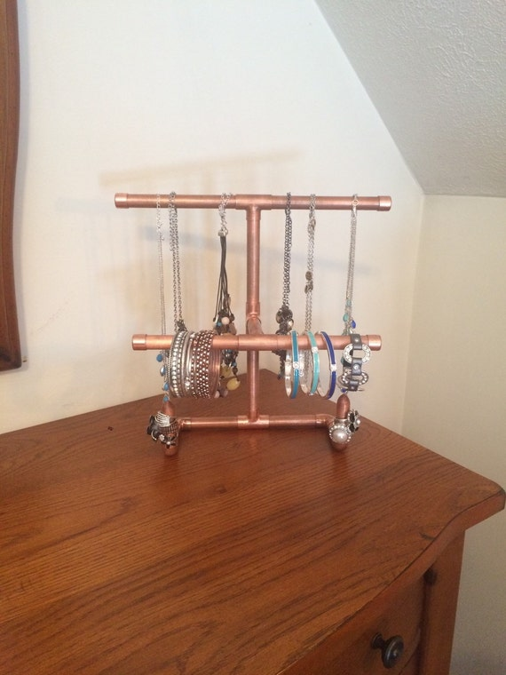 Copper pipe jewelry stand steampunk jewelry by copperpipedream for Copper pipe jewelry stand