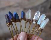Raw Aura Quartz Crystal Hair Pins, Bridal Accessories, Wedding Hair Accessories