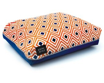 Rhombus Dog Bed – Creamsicle | Removable Pet Bed Cover including Pillow Insert | Orange Geometric Dog Beds from Lion + Wolf