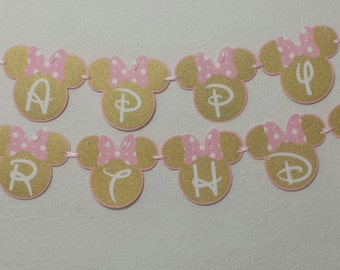 Minnie Mouse Birthday Banners,Light Pink and Gold Minnie Mouse,Minnie Mouse party decorations