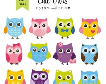 50% OFF SALE Owl Clip art: ''OWLS Digital'' owl clipart, cute, sweet, whimsical, pink, purple, green, blue, color owl