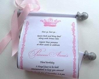 Princess Invitation, Princess Birthday Party, Scroll Invitation, Royal Princess Crown Invitation Scroll