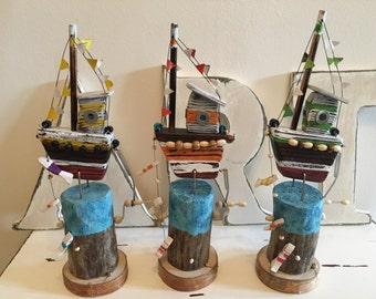 Automaton Fishing Sailing Boat Sailing Ship Sculpture Gift for Sailor Wood Art Nautical Decor Coastal Art Unique Gift Wooden Gift Wood Art