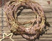 Crystal Rose Bracelet Set with gold plated charms - Pulseras Semanario color rosa crystal con dijes de chapa de oro