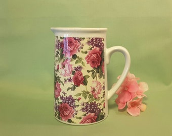 Vintage pink roses pitcher by Kent Pottery Mothers Day gift  Spring Flowers  Easter Flowers  Home Decor  House Warming Gift Birthday Gift