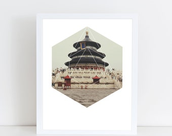 Spiritual Buddha Temple Art Print - Inspirational Holy Wall Art, Yoga Meditation Geometric Photography Art, Printable Architecture Poster