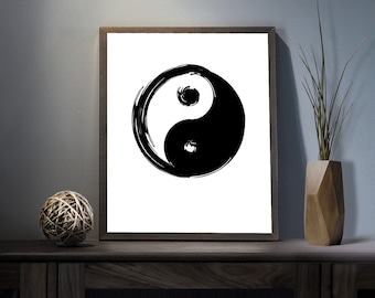 Yin Yang Symbol Digital Art Print - Inspirational Karma Wall Art, Motivational As Above As Below Quote Art, Printable Chinese Typography