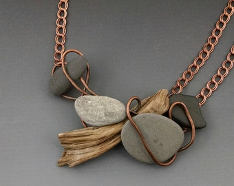 The Beach Path, A Driftwood, Beach Stone and Found Metal Necklace by Deborah Smith