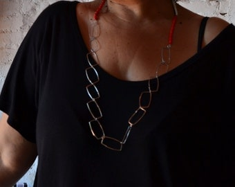 Silver necklace, coral and glass
