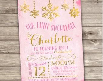 Winter Wonderland Snowflake Birthday Invitations Glitter Foil Pink and Gold Party girl First Birthday Digital Printable Onederland NV1010