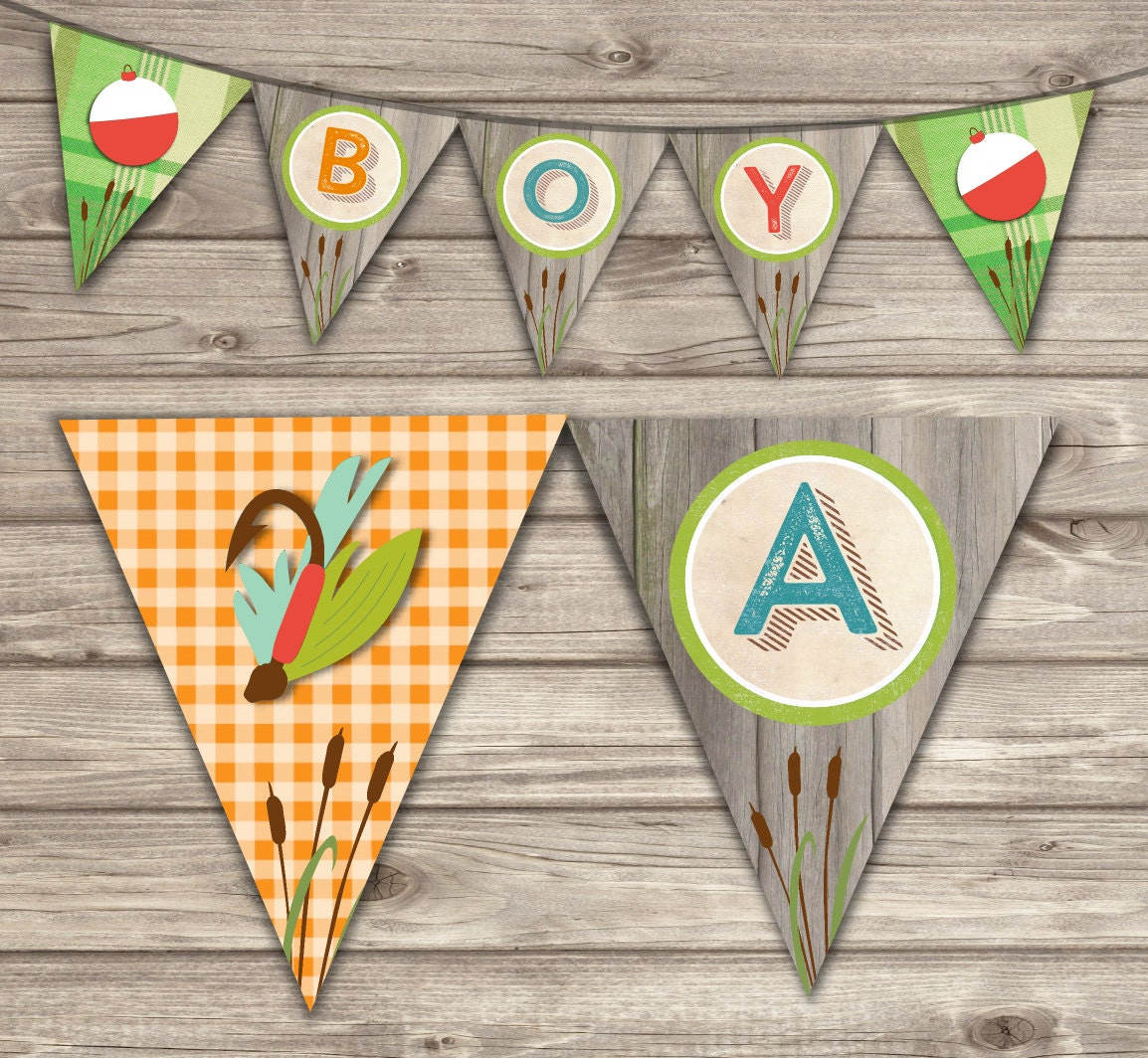 Fishing banner baby shower party decor rustic theme its a boy for Fishing baby shower