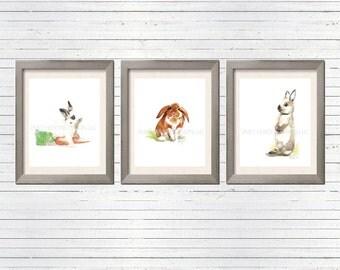 Rabbit watercolor set/ Woodland Watercolor Print Set of 3 / bunny Nursery art / Woodland Bunny Print / Rabbit Art / Easter home decor