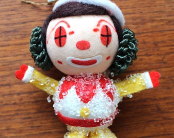 Kitschy Retro Clown Christmas Ornament Made in Japan