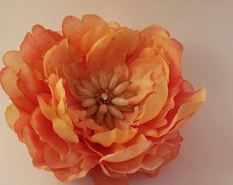 Peach Flower Hair Clip