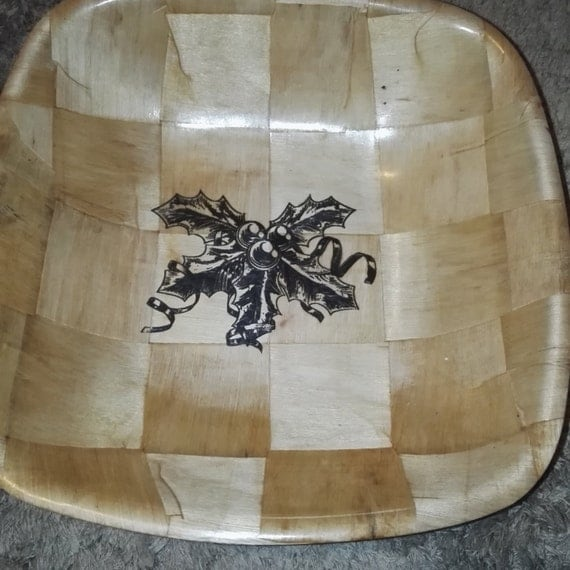 CHRISTMAS HOllY NATURAL bamboo wooden bowl unique fruit /nut/ egg basket #christmas
